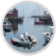 Round Beach Towel featuring the photograph Boats On The Water by Eunice Miller