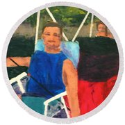 Round Beach Towel featuring the painting Boating by Donald J Ryker III