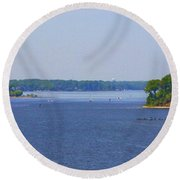 Boating On The Severn River Round Beach Towel