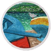 Boats And Bird At Rest Round Beach Towel by Laura Forde