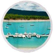 Boats At A Harbor, Port Margaridon Round Beach Towel