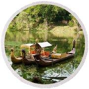 Boats At Angkor Thom Round Beach Towel