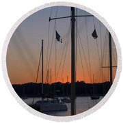 Boats At Beaufort Round Beach Towel