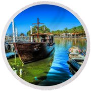 Boats At Kibbutz On Sea Galilee Round Beach Towel