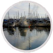 Round Beach Towel featuring the photograph Boats At Marina On Liberty Bay by Greg Reed