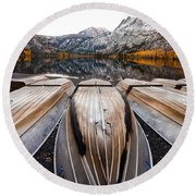 Boats At Mountain Lake In Autumn Fine Art Photograph Print Round Beach Towel