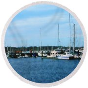 Round Beach Towel featuring the photograph Boats At Newport Ri by Susan Savad