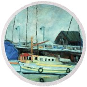 Boats At Provincetown Ma Round Beach Towel