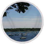 Round Beach Towel featuring the photograph Boats At Rest by Denyse Duhaime