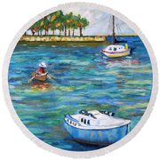 Boats At St Petersburg Round Beach Towel