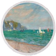 Boats Below The Pourville Cliffs Round Beach Towel