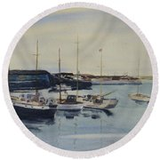 Boats In A Harbour Round Beach Towel