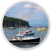 Boats In Bar Harbor Round Beach Towel
