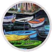 Boats In Front Of The Buildings II Round Beach Towel