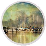 Boats In Harbour Round Beach Towel