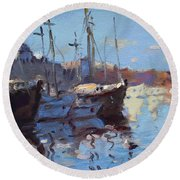 Boats In Mandraki Rhodes Greece  Round Beach Towel