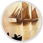 Boats In Sun Light Round Beach Towel