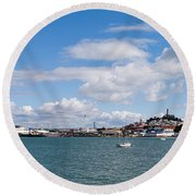 Boats In The Bay, Transamerica Pyramid Round Beach Towel