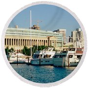 Boats Moored At A Dock, Chicago Round Beach Towel by Panoramic Images