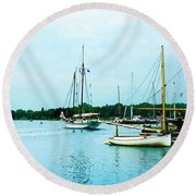 Round Beach Towel featuring the photograph Boats On A Calm Sea by Susan Savad