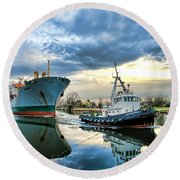 Boats On A Canal Round Beach Towel