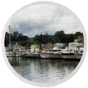Boats On A Cloudy Day Essex Ct Round Beach Towel by Susan Savad