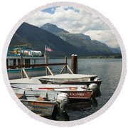 Boats On Lake Mcdonald Round Beach Towel by Nina Prommer