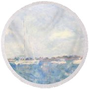 Boats On Lake Michigan In  Chicago Round Beach Towel