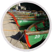 Round Beach Towel featuring the photograph Boats Waiting For Kids by Doc Braham