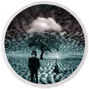 Bob Dylan A Hard Rain's A-gonna Fall Round Beach Towel by Mal Bray