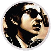 Bob Dylan Artwork 3 Round Beach Towel by Sheraz A