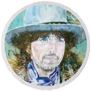 Bob Dylan Oil Portrait Round Beach Towel by Fabrizio Cassetta