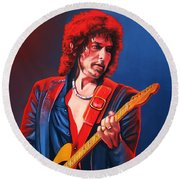 Bob Dylan Painting Round Beach Towel by Paul Meijering