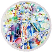 Bob Dylan Playing The Guitar - Watercolor Portrait.1 Round Beach Towel by Fabrizio Cassetta