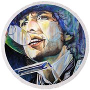 Bob Dylan Tangled Up In Blue Round Beach Towel by Joshua Morton