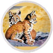 Round Beach Towel featuring the painting Bob Kittens by Phyllis Kaltenbach