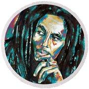 Bob Marley Watercolor Portrait.7 Round Beach Towel