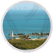 Boca Chita Lighthouse And Miami Skyline Round Beach Towel
