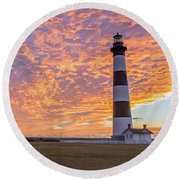 Bodie Island Lighthouse At Sunrise Round Beach Towel