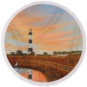 Bodie Island Lighthouse Round Beach Towel by Fran Brooks
