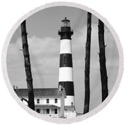 Bodie Island Lighthouse In The Outer Banks Round Beach Towel