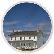 Round Beach Towel featuring the photograph Bodie Lighthouse Obx by Greg Reed