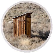 Bodie Outhouse Round Beach Towel by Art Block Collections