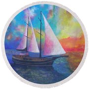 Round Beach Towel featuring the painting Bodrum Gulet Cruise by Tracey Harrington-Simpson