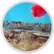 Round Beach Towel featuring the painting Bogomil Sunrise 2 by Otto Rapp