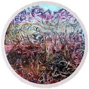 Round Beach Towel featuring the painting Bogomils Vegetable Garden  by Otto Rapp