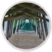 Bogue Banks Fishing Pier Round Beach Towel by Sandi OReilly