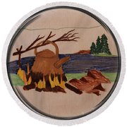 Boil Up In The Woods - Porthole Vignette Round Beach Towel