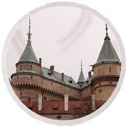 Round Beach Towel featuring the photograph Bojnice Castle by Les Palenik