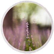 Bokeh With Purple Wildflower Round Beach Towel
